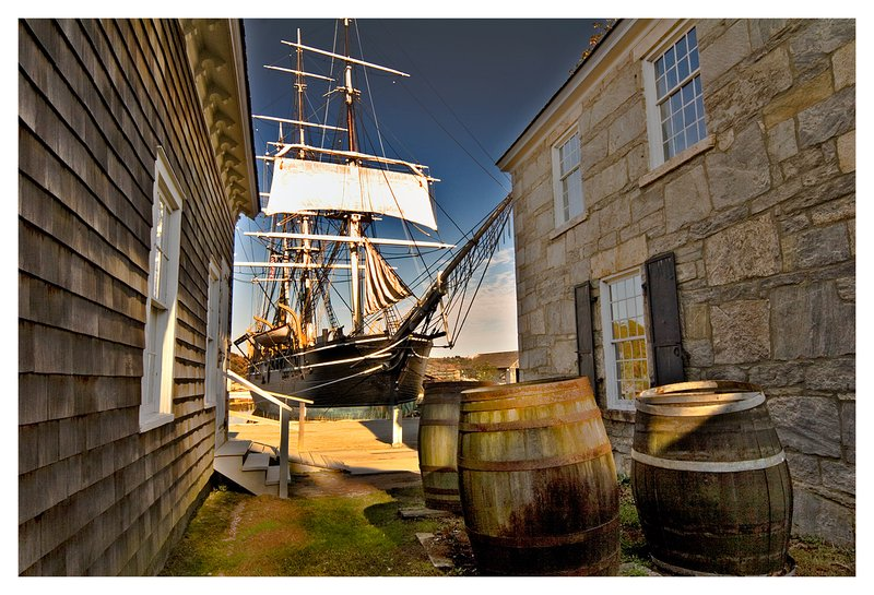 Morgan.jpg :: Mystic - The Morgan is framed by 19th century buildings of the Mystic Seaport.