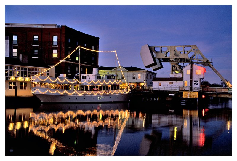 Mystic River-Christmas.jpg :: Mystic - A boat decorated for Christmas is reflected in the calm Mystic River.