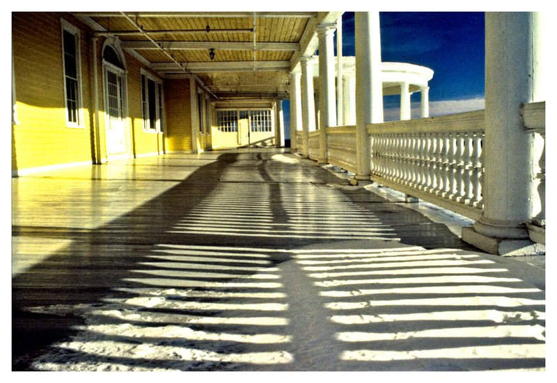 Ocean House - winter.jpg :: Watch Hill R.I. - Long shadows on the snow-covered deck of the Ocean House.