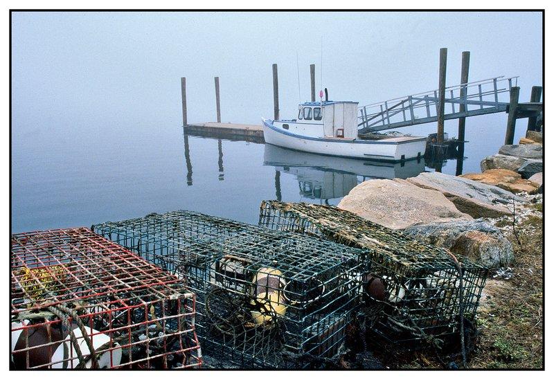 Stonington lobster boat.jpg :: Stonington - A lobster boat is shrouded in dense fog.