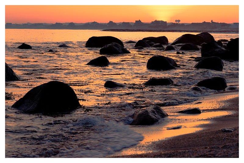 Weekapaug surf.jpg :: Weekapaug R.I. - The setting sun's colors are reflected in the turbulent surf.