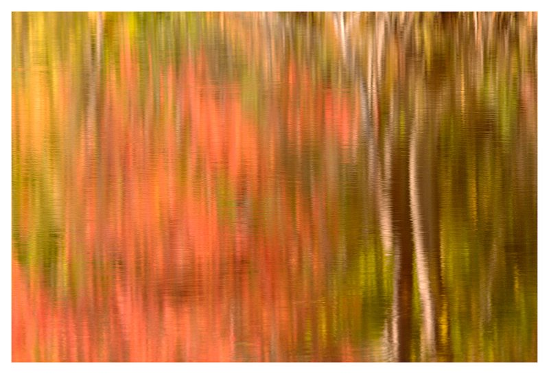 abstract reflection.jpg :: Ledyard Ct -  A tranquil pond reflects the colors of Autumn
