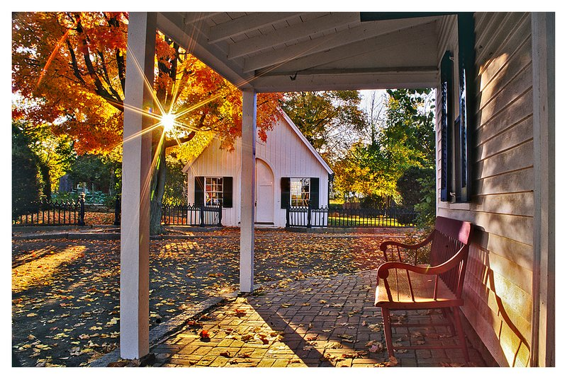 autumn morning.jpg :: Mystic Seaport- The Tavern is illuminated by early morning light on an cool Autumn morning.