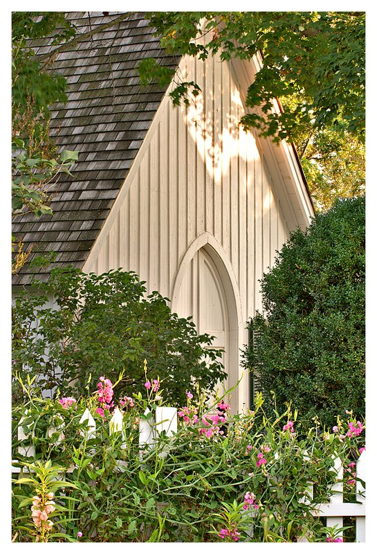 chapel and sweet peas.jpg :: Mystic - The chapel at the Mystic Seaport with sweet peas in the foreground.
