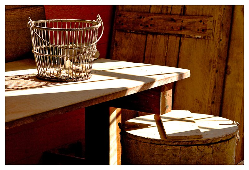 light and shadow.jpg :: Mystic - The play of light and shadows in an oyster shack.