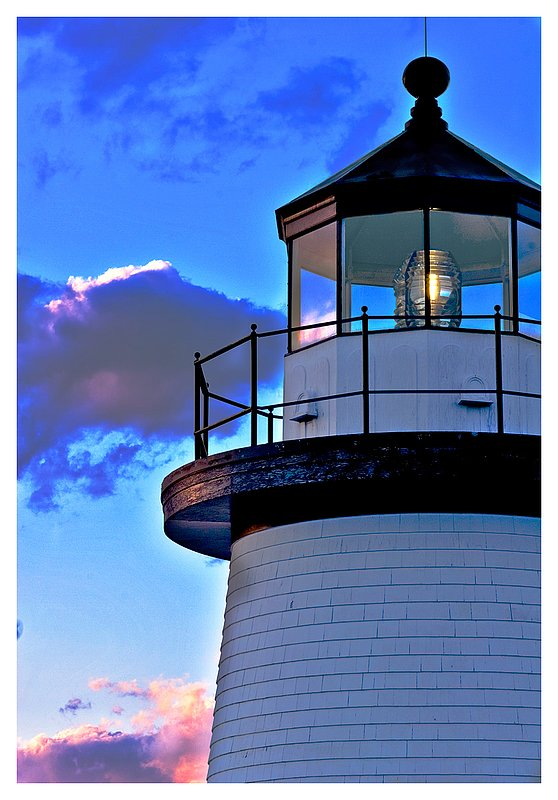 lighthouse at dusk.jpg :: Mystic - The lighthouse at the Mystic Seaport.