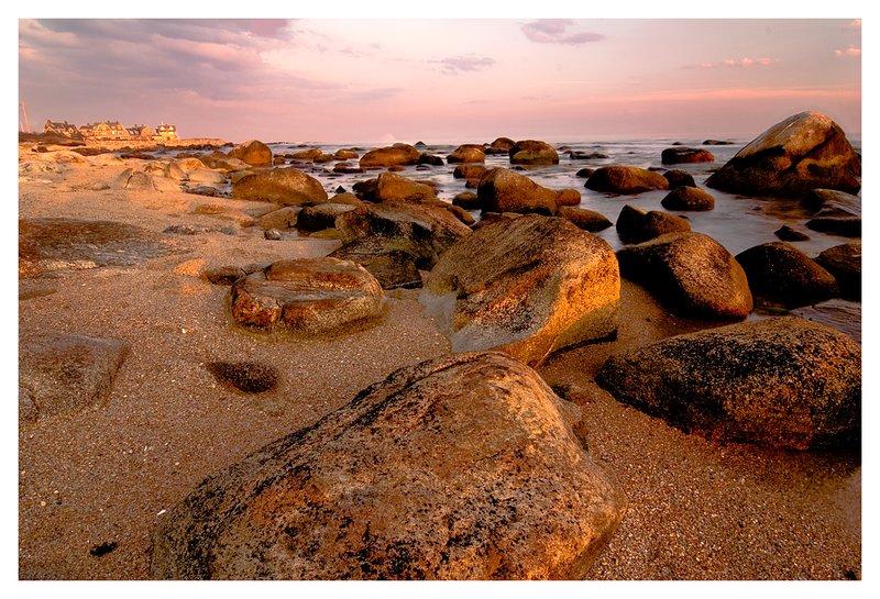 rocky beach.jpg :: Weekapaug R.I. - A rocky beach is exposed by low tide.