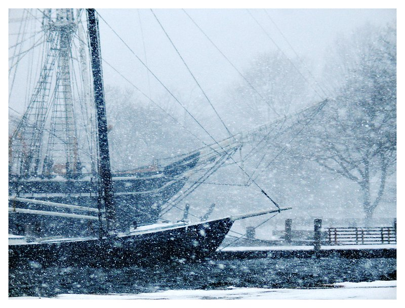 snowstorm and ships.jpg :: Mystic - Historic ships of the Mystic Seaport weather a raging snowstorm.