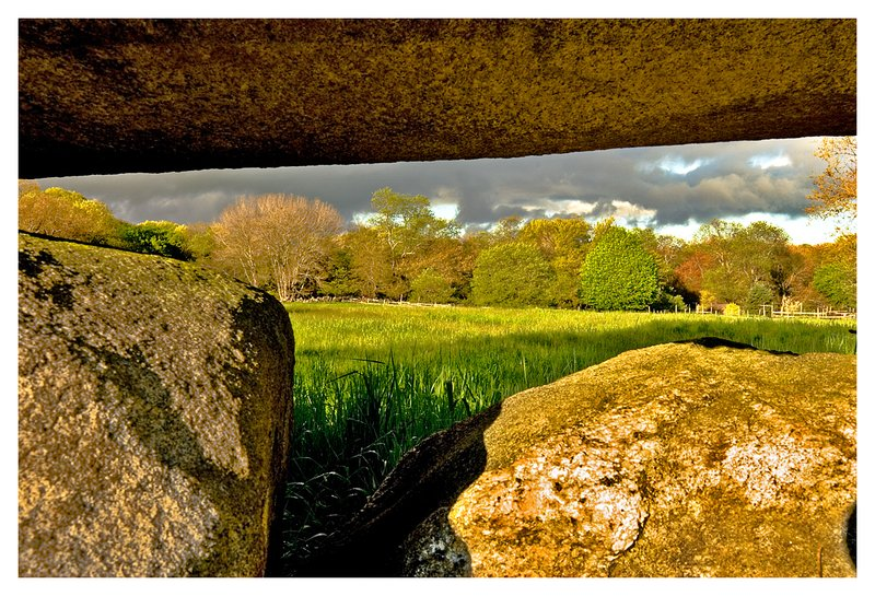 stone wall-Haley Farm.jpg :: Mystic - A clearing spring storm is viewed through a massive stone wall.