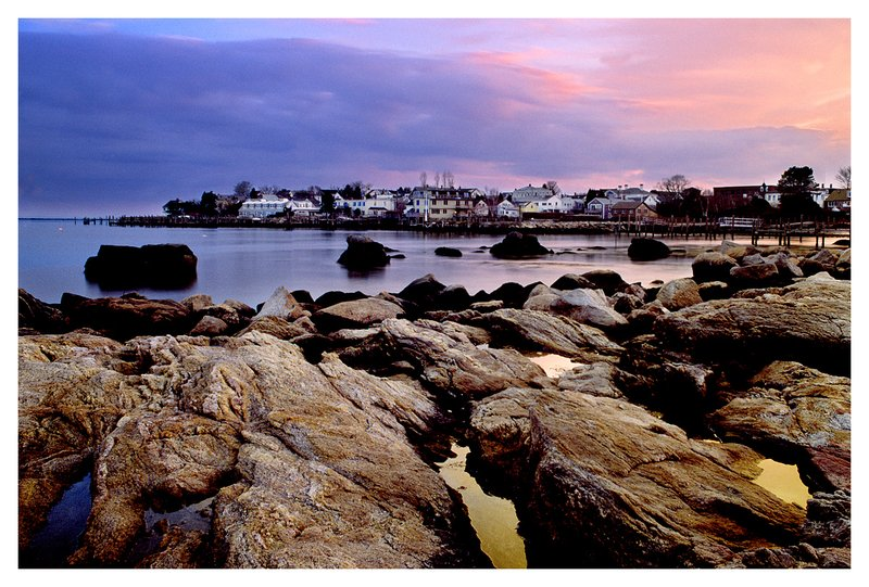 view from Wall St..jpg :: Stonington - A view of Stonington Village from Wall St. at dusk.