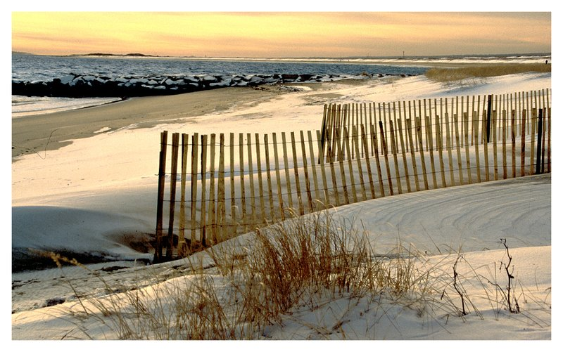 winter beach - snow fence.jpg :: Watch Hill R.I. - Snow fencing and snow drifts on a late winter's day.