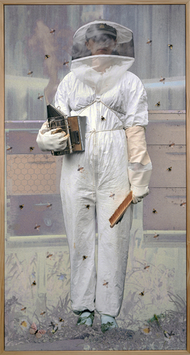 The Beekeeper -36x69 - Mixed Media-3D-Motion Activated Sound Photograph - See Video.jpg