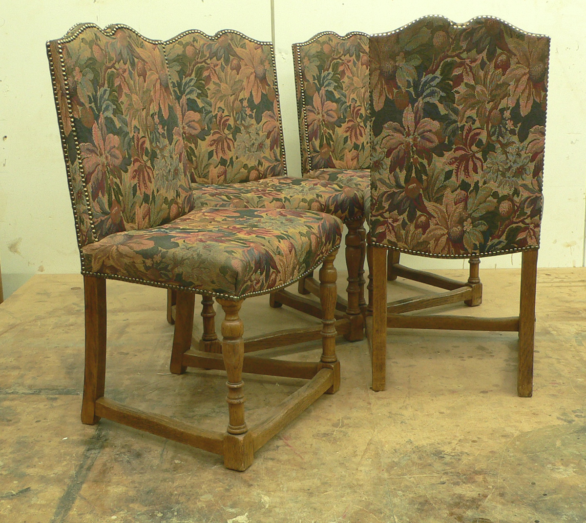 Set Of Four Victorian Tudor Style Oak Dining Chairs