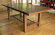 Rustic walnut dining table with iron stretcher 2.jpg