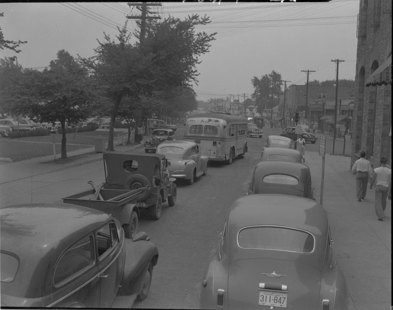 102A-1 Wisconsin Ave facing south from Bank of Bethesda 1939.jpg :: Wisconson ave looking south from Bank of Bethesda 1939