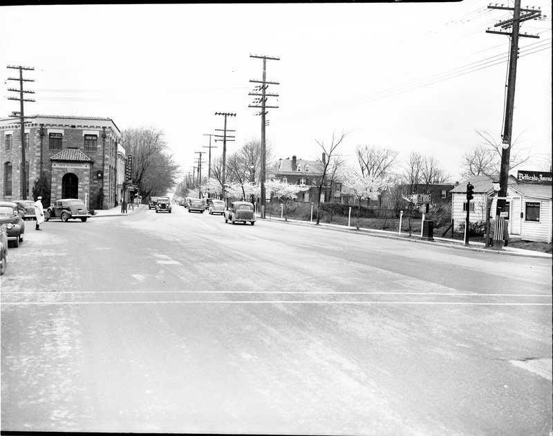 129AC-1 Bethesda 5 points Cherry Blossoms Wisconsin Ave 1938.jpg :: BETHESDA 5 POINTS CHERRY BLOSSOMS CIRCA 1930'S