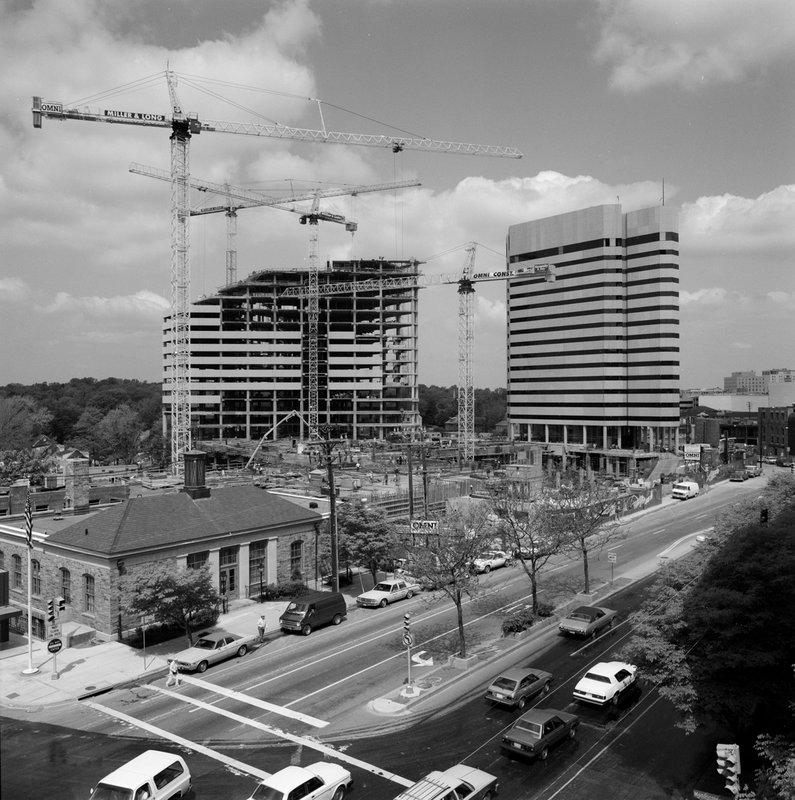 8405000-ABW Bethesda Hyatt Metro Centre Wisconsin Ave Looking N Bethesda Under Construction 1984.jpg