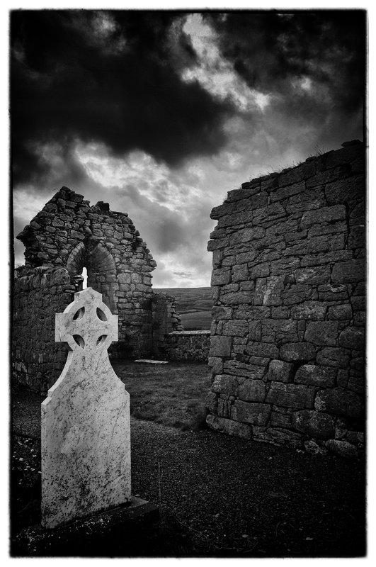 Burren Cemetery.jpg :: Cemeteries  have always fascinated me, they are the keepers of the past. The Tombstones are Sentinels that whisper and  allow me passage to the silent world of yesterday.