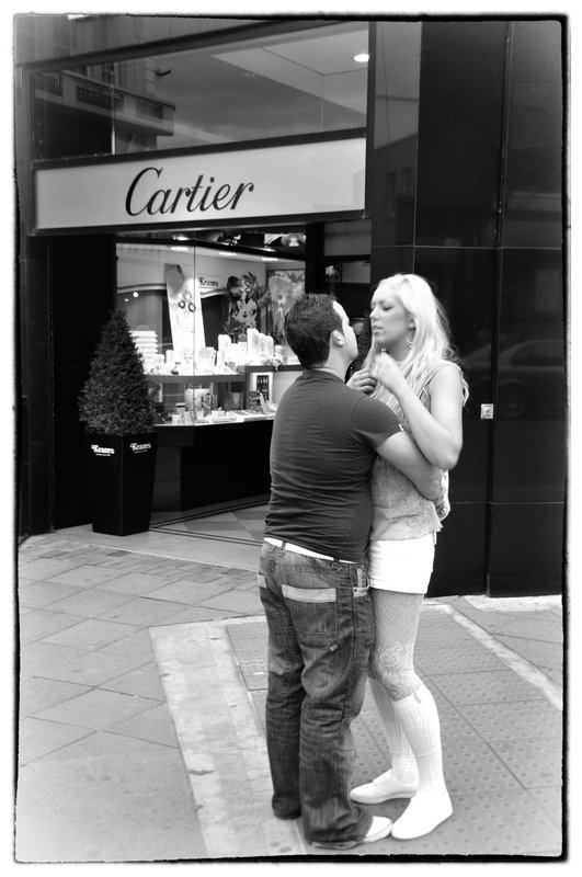 Affair on Dublin Street.jpg :: Affection was not restrained on the streets of Dublin, holding hands, hugging, enbraceing seem to be tolerated by the society.