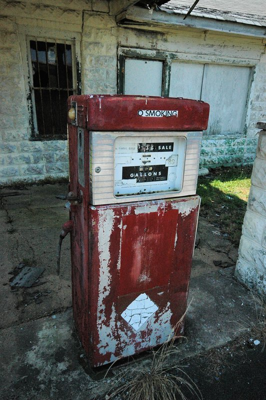 Old Gas Pump.jpg :: Something nostalgic walking around an old gas station that served it's community for years as well as providing for a family, makes you wonder what went wrong that made closure a must.