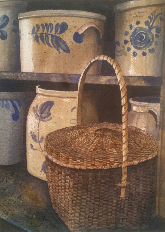 Blue Cupboard.jpg :: A collection of blue ware and baskets line the shelves of a cupboard.