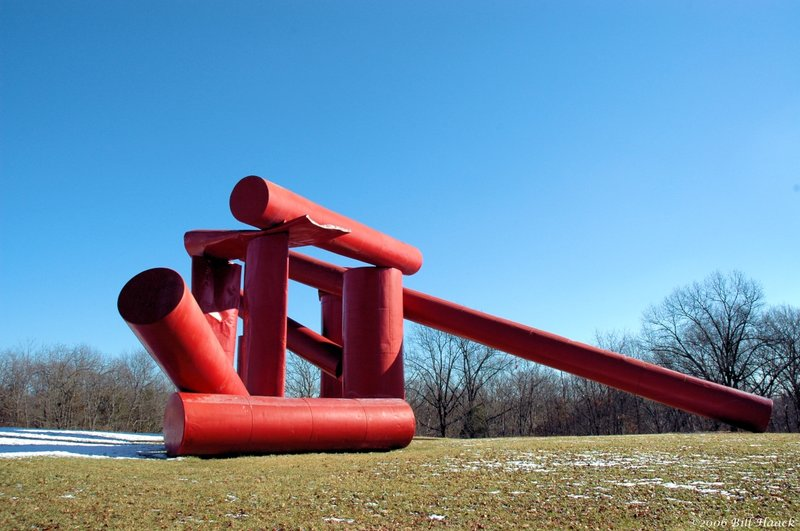 63_DSC_0769 red pipe sculpture 011406.jpg :: In 1968, Mrs. Matilda Laumeier bequeathed the first 72 acres of the future Laumeier Sculpture Park, together with a large story-and-a-half house of cut stone, to the people of St. Louis County in memory of her husband, Henry H. Laumeier, for the benefit of the greater St. Louis metropolitan area. In 1975, the park was proposed as a possible site for the exhibition of sculpture and the concept of Laumeier Sculpture Park emerged. Catapulted by a collaborative of citizen leaders in the arts, education and business communities, Laumeier Sculpture Park, 501(c)3, was incorporated in September 1977; over the years it has grown to 105-acres. Laumeier Sculpture Park today has over 300,000 visitors annually.