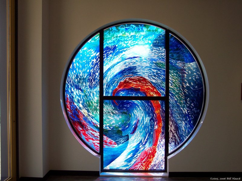 93_100_0527 stained glass swirl 071405.jpg :: The Stained Glass windows of Parkway United Church of Christ.  By telling the stories of the Christian Faith and of this congregation, they invite us to find our places in the stories and to discover the joy and promise of the Gospel.  Some of these windows are from the Historic Sanctuary - the others from the current sanctuary.  The oldest windows were commissioned prior to the churches 100th anniversary in 1938.
