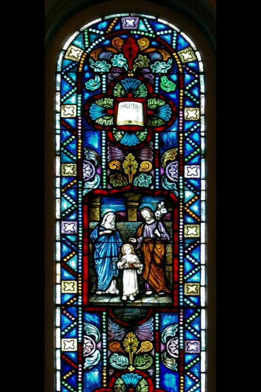BI 10 The Holy Family window 4x6 72_DSC_7628 070806.jpg :: The Stained Glass windows of Parkway United Church of Christ.  By telling the stories of the Christian Faith and of this congregation, they invite us to find our places in the stories and to discover the joy and promise of the Gospel.  Some of these windows are from the Historic Sanctuary - the others from the current sanctuary.  The oldest windows were commissioned prior to the churches 100th anniversary in 1938.