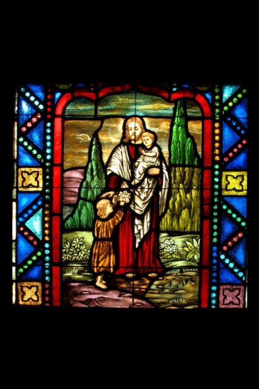 BI 14 Christ Blessing the children 72_DSC_6050 old sanc choir left4x6 SGW 031408.jpg :: The Stained Glass windows of Parkway United Church of Christ.  By telling the stories of the Christian Faith and of this congregation, they invite us to find our places in the stories and to discover the joy and promise of the Gospel.  Some of these windows are from the Historic Sanctuary - the others from the current sanctuary.  The oldest windows were commissioned prior to the churches 100th anniversary in 1938.