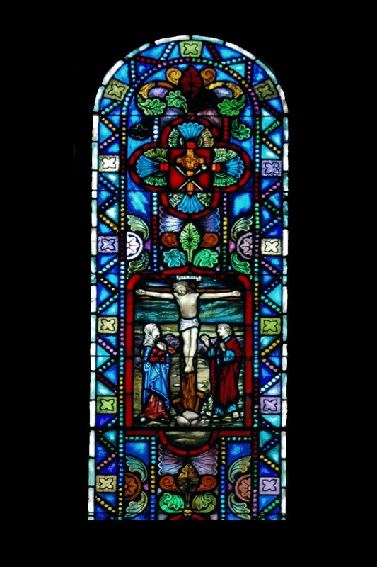 BI 16 The Crucifixion 4x6 72_DSC_7637 070806.jpg :: The Stained Glass windows of Parkway United Church of Christ.  By telling the stories of the Christian Faith and of this congregation, they invite us to find our places in the stories and to discover the joy and promise of the Gospel.  Some of these windows are from the Historic Sanctuary - the others from the current sanctuary.  The oldest windows were commissioned prior to the churches 100th anniversary in 1938.