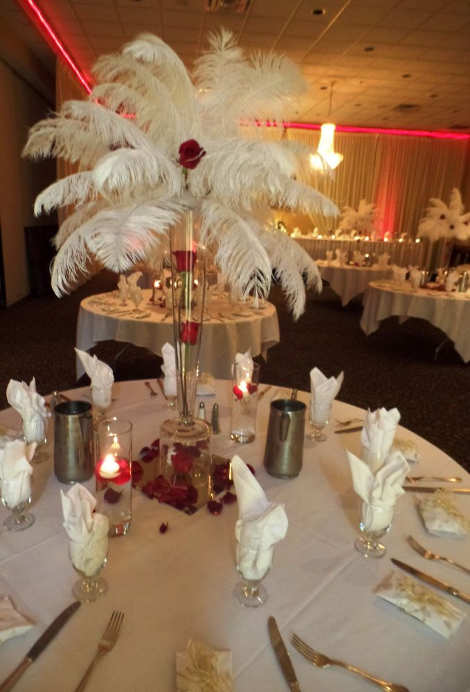 White And Red Feather Centerpiece Metro Detroit Michigan Wedding
