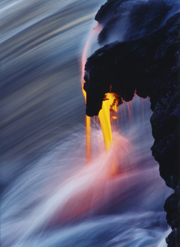 4--Ancient-Rhythm.jpg :: Lava flowing into Pacific Ocean, after flowing seven miles downhill from vent of Kilauea Volcano. Hawaii. USA
