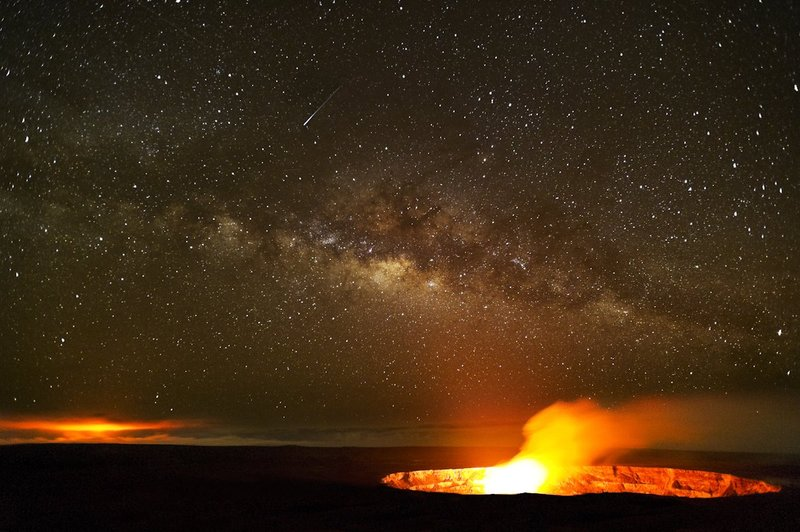 5--Galaxias.jpg :: Galaxias. This is one of my latest volcano images, that I took a few miles from my home on the Volcano Golf Course, in Hawaii. It shows both of the active vents of Kilauea Volcano, with a healthy dose of Milky Way.